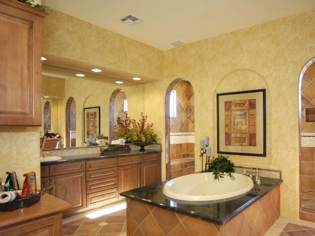 Tuscan Bathroom: Clay Colored Tiles And Faux Finished Gold Walls Set The  Tone For