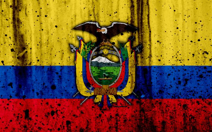 Download Wallpapers Ecuadorian Flag 4k Grunge South America Flag