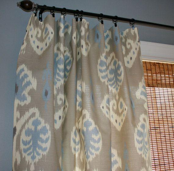 Grey Blue And Creme Ikat Curtain Panels / Custom By StitchandBrush