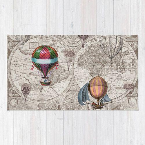 Heißluft Ballons Karte Badematte - Matte für Ideen, Betonplätze…