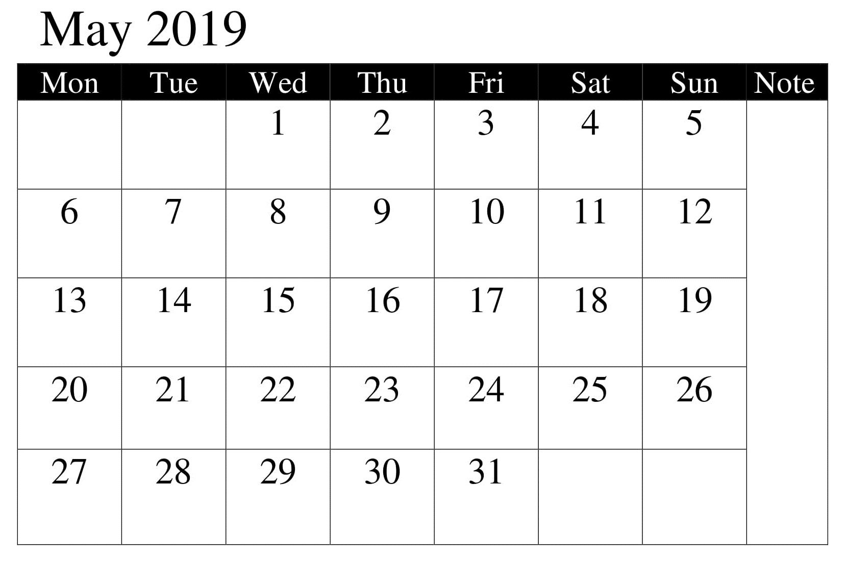 Calendar Printable May 2019 Professional Calendar Template