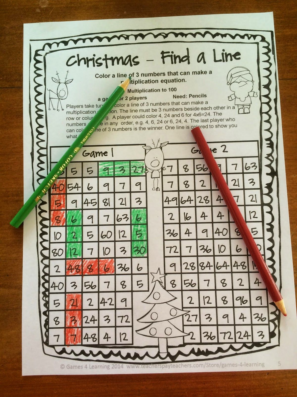 FREEBIE - Christmas Math Games No Prep Freebies by Games 4 Learning ...