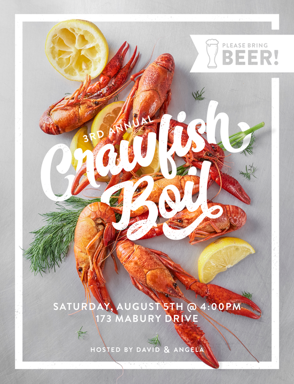 Every year I design a flyer for our crawfish boil : graphic_design