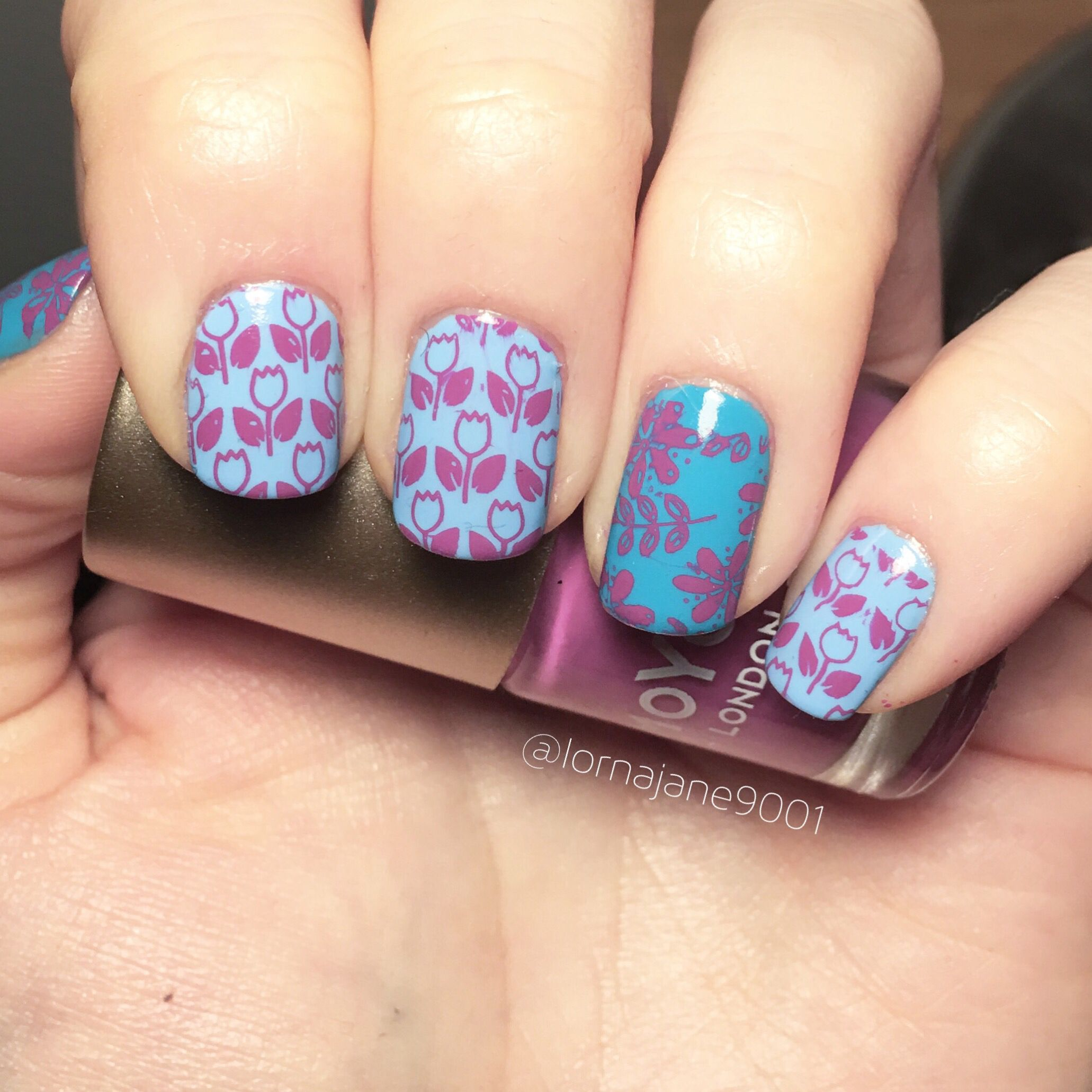 Spring Themed Nails This Week Using Barrymcosmetics Bug A Blue