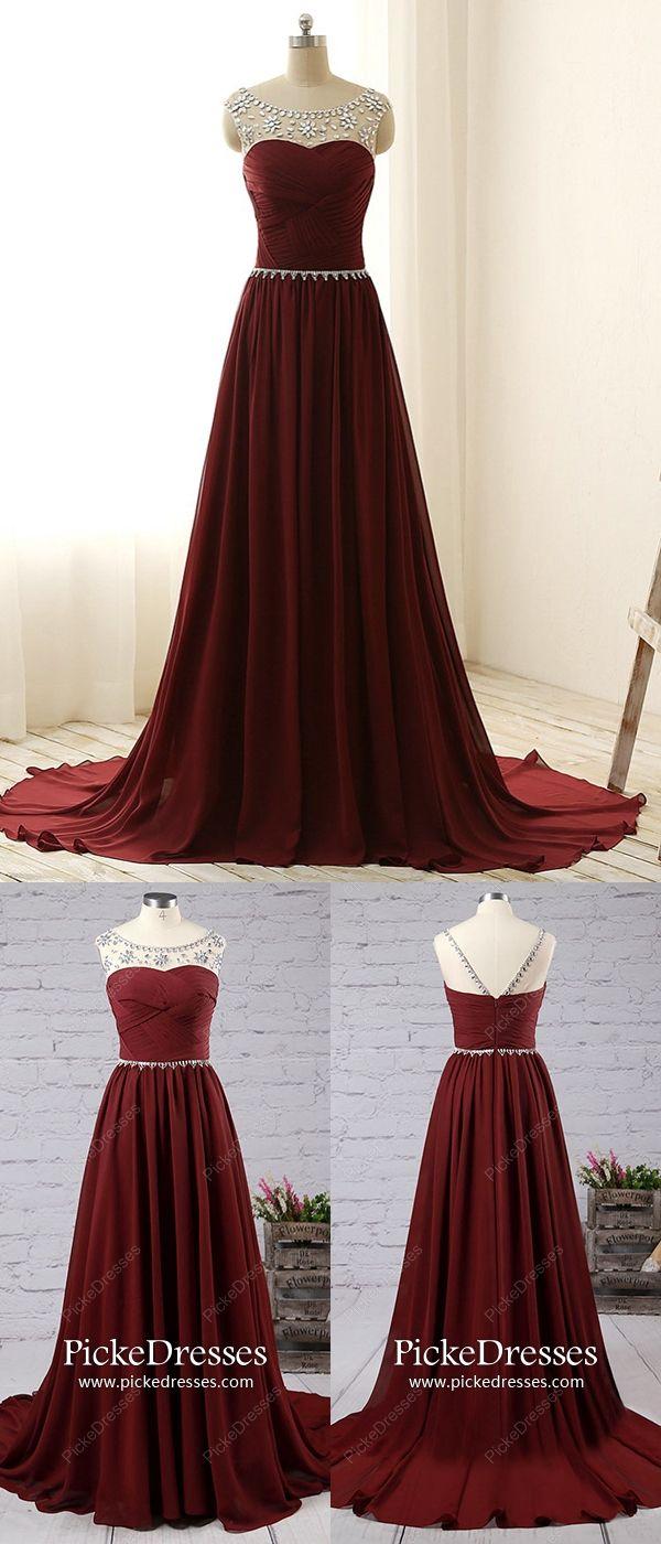Burgundy prom dresses long elegant formal dresses for teenagers