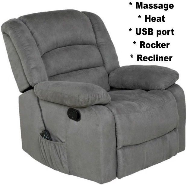 Fabulous Gray Rocker Recliner With Heat Massage Usb Port Arm Chair Pabps2019 Chair Design Images Pabps2019Com