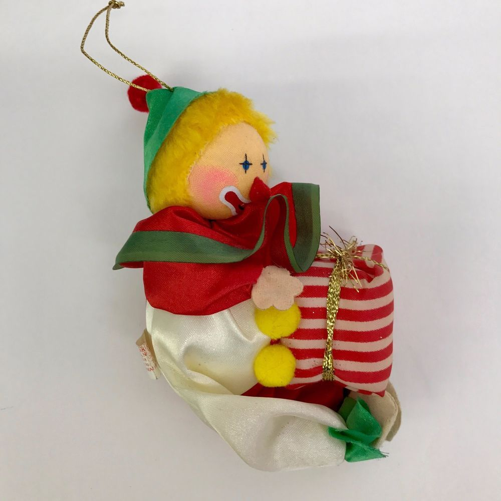 Clown Christmas Ornament by Russ Soft Fabric Holiday Tree Decoration Circus