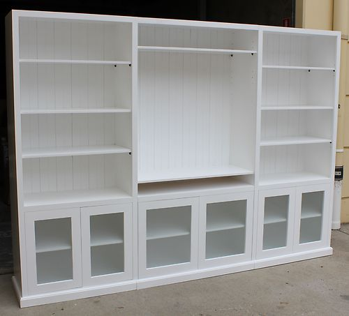 White Color Solid Pine Timber 3pc TV Wall Unit Bookcase Living