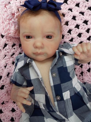 "HTF Reborn Baby Girl Doll 19"" Aurora Sky by Laura Lee Eagles"