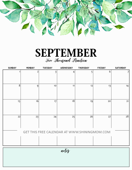 Sept 2019 Calendar Printable.Print Free Calendar 2019 With Daily Planner 2019 Planner And