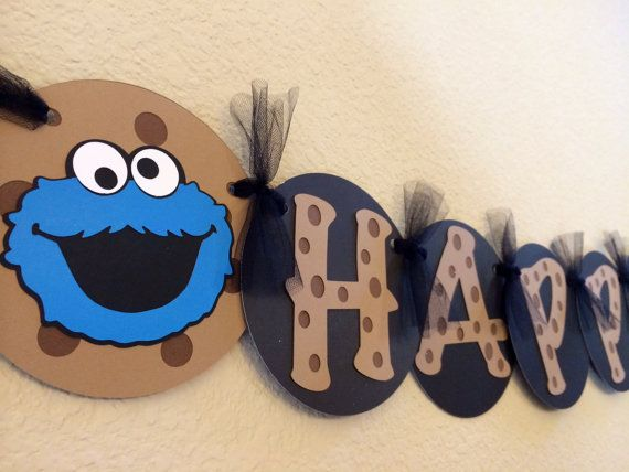 Cookie Monster Birthday Banner  1st by BlissfullyEmbellish on Etsy, $24.00 -  Love the cookie letters