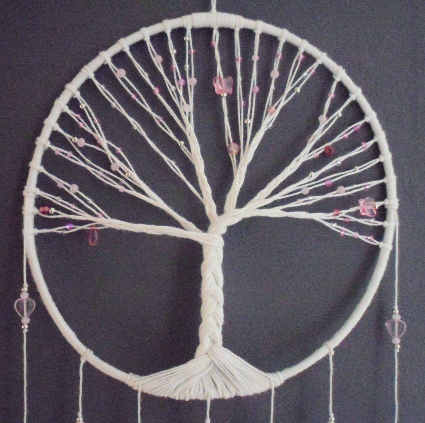 Attrape r ves rose arbre de vie pink dreamcatcher bijou d 39 int rieur plumes perles et - Photo d attrape reve ...