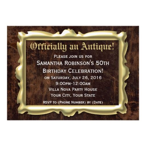 officially antique funny 50th birthday party invitation 50th