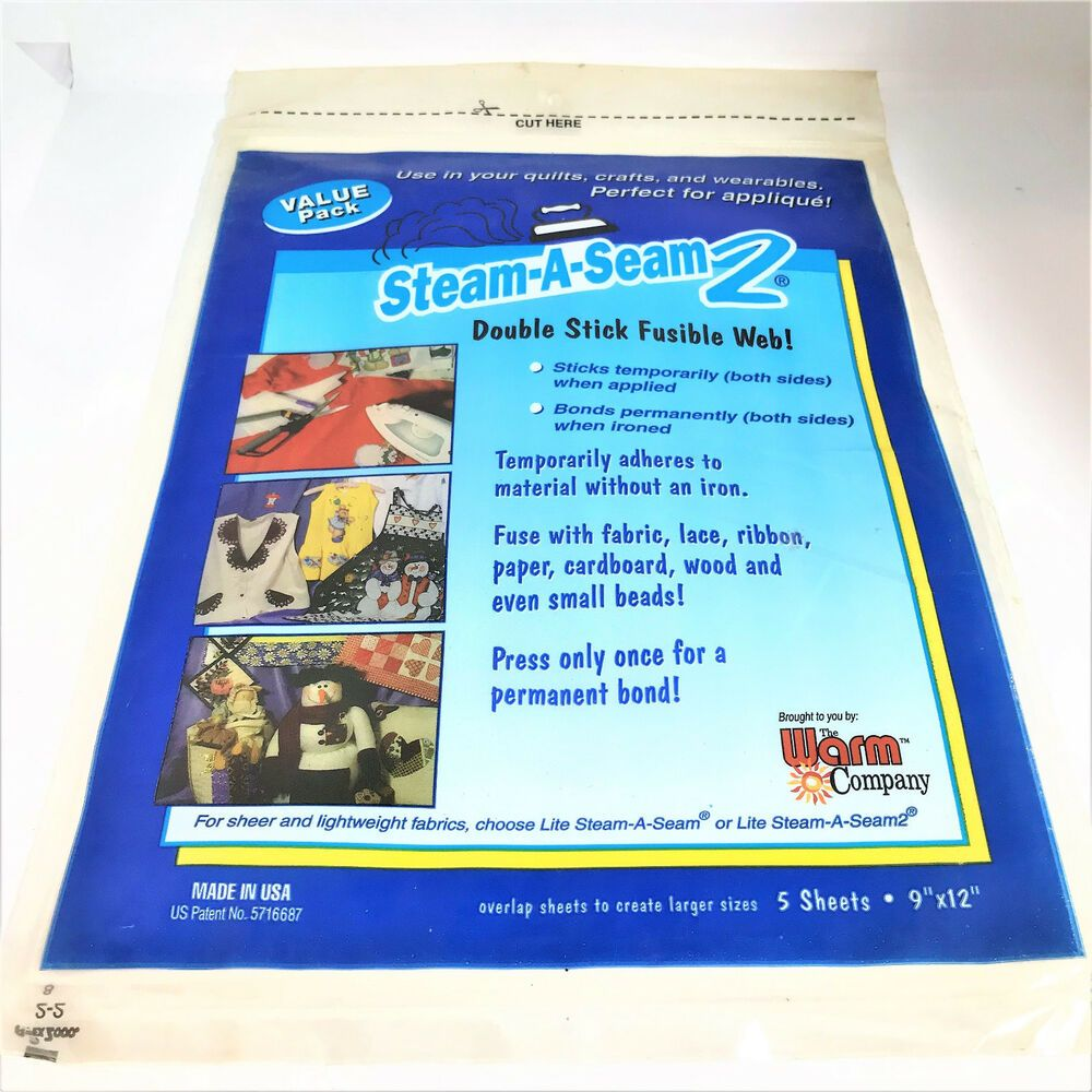 "5517WNN 5 Sheets,9 x 12/"",Warm Co Lite Steam A Seam 2 Double Stick Fusible Web"