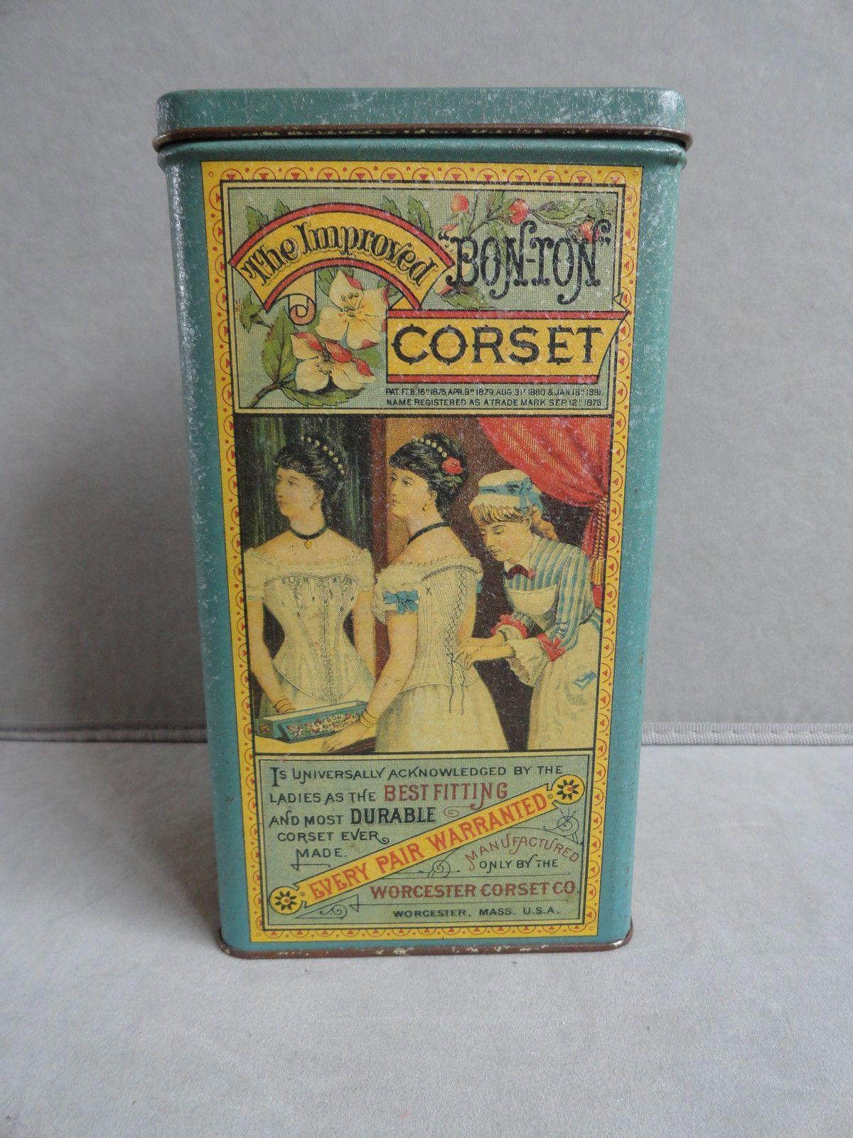 VINTAGE ADVERTISING TIN BONTON CORSET TIN MASSACHUSETTS U.S.A.   eBay