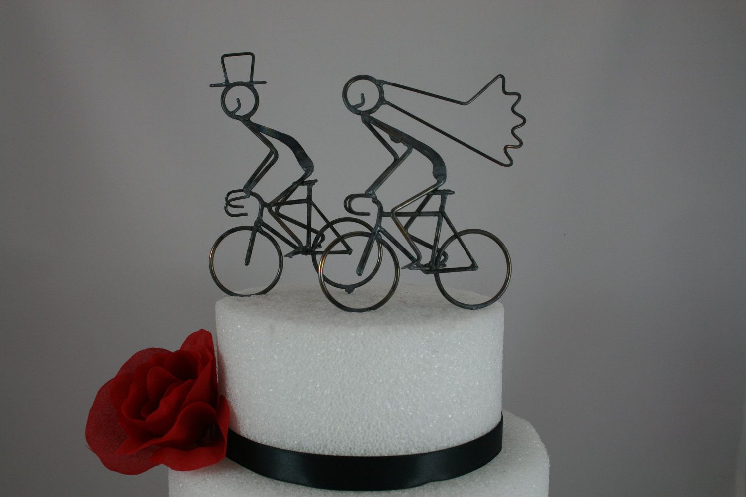 Bride and Groom Road Bike Cake Toppers