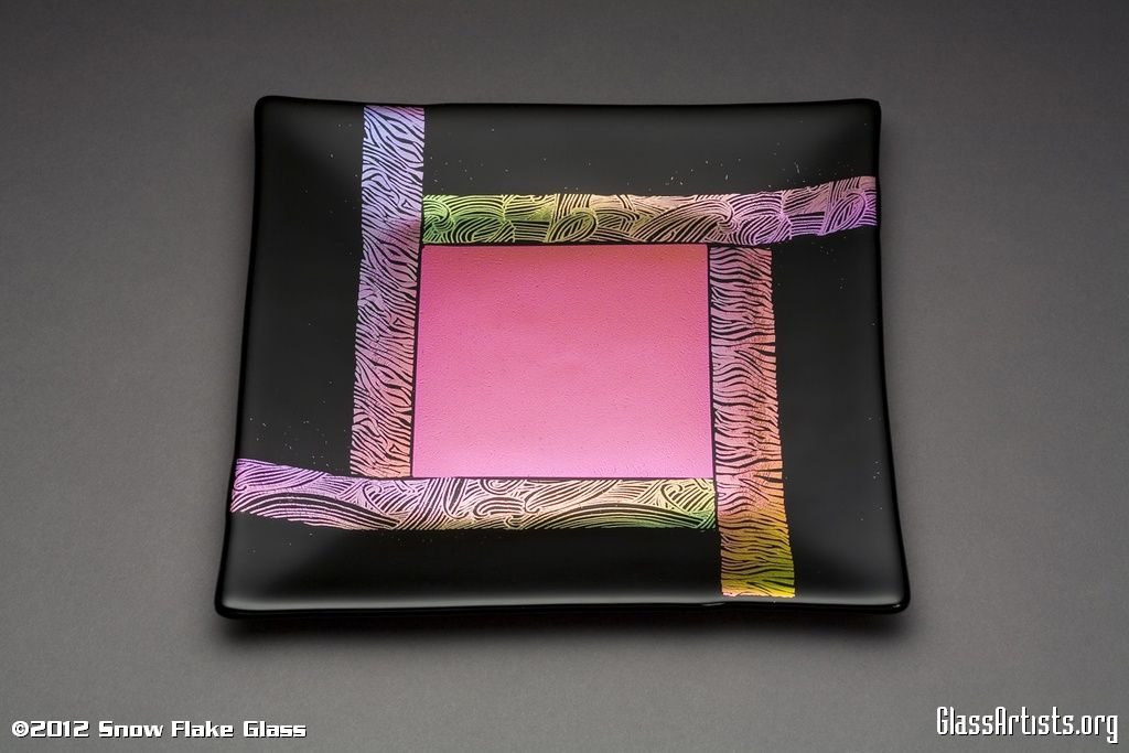 Pink Dichro Stripes Dichroic On Black Fused Glass Plate