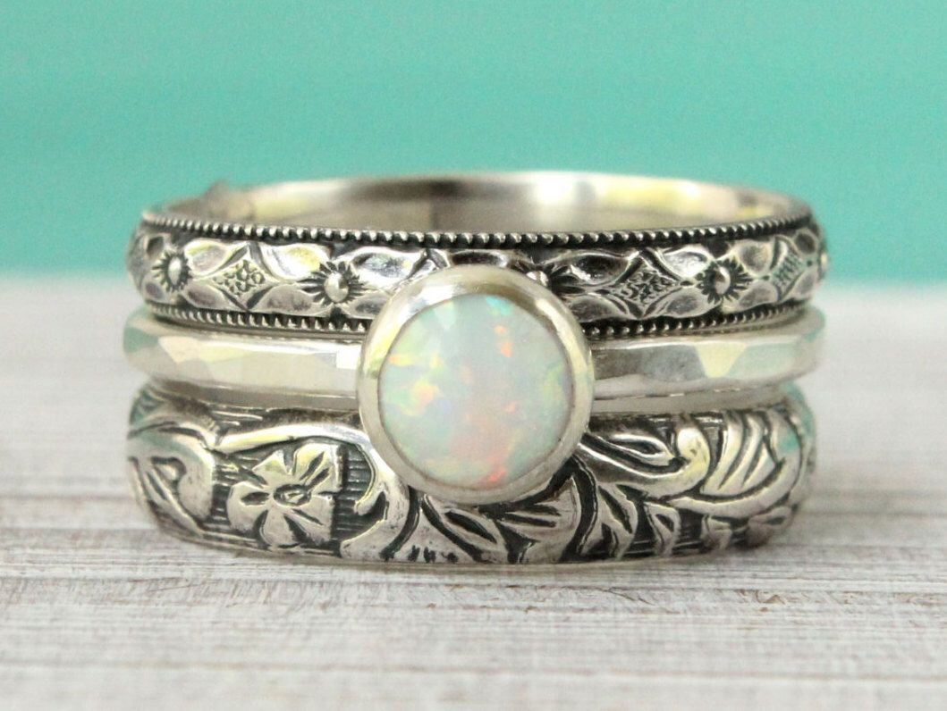 opal wedding ring sets White opal ring set of 3 sterling silver flower pattern floral vintage style