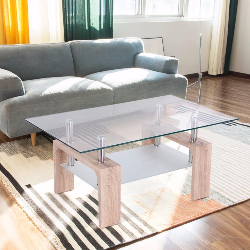 Goplus Rectangular Glass Coffee Table With Storage Shelf Modern Wood Legs Side Coffee Table Living Room Living Room Furniture Styles Coffee Table Living Table [ 1000 x 1000 Pixel ]