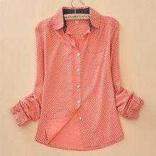 2016 mujeres del otoño del resorte de Algodón amor Polka Dot camisa Blusa de Las Señoras blusas Ropa de marca informal Dama Camisas de algodón tops de la moda(China (Mainland))