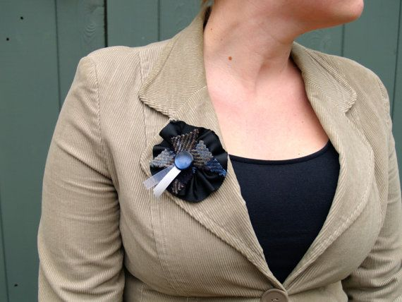 Black Ribbon Brooch with Blue Tartan Harris Tweed, Cream and Silver Ribbon and a Vintage Button