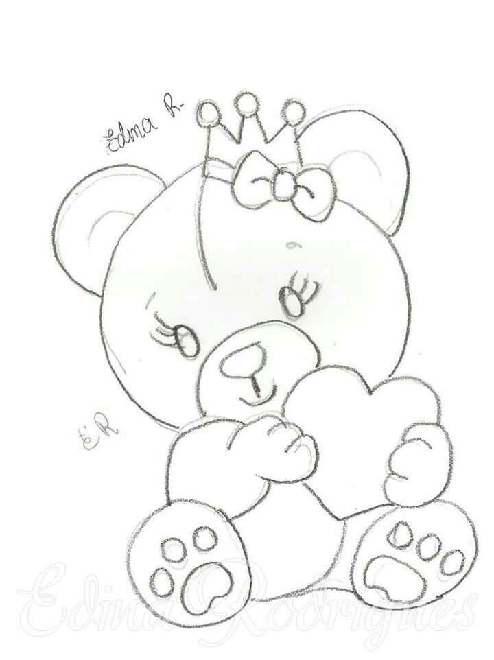Princesa Ursinha Com Imagens Riscos Para Pintura Pintura Em Fraldas Desenho De Urso
