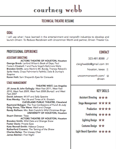Sample Theater Resume Pinsusie Gottardi On Senior Resume Ideas  Pinterest  Resume .
