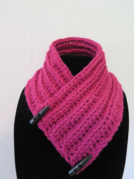 Crotchet Neck warmer Scarf Pink by SailersAccessories on Etsy