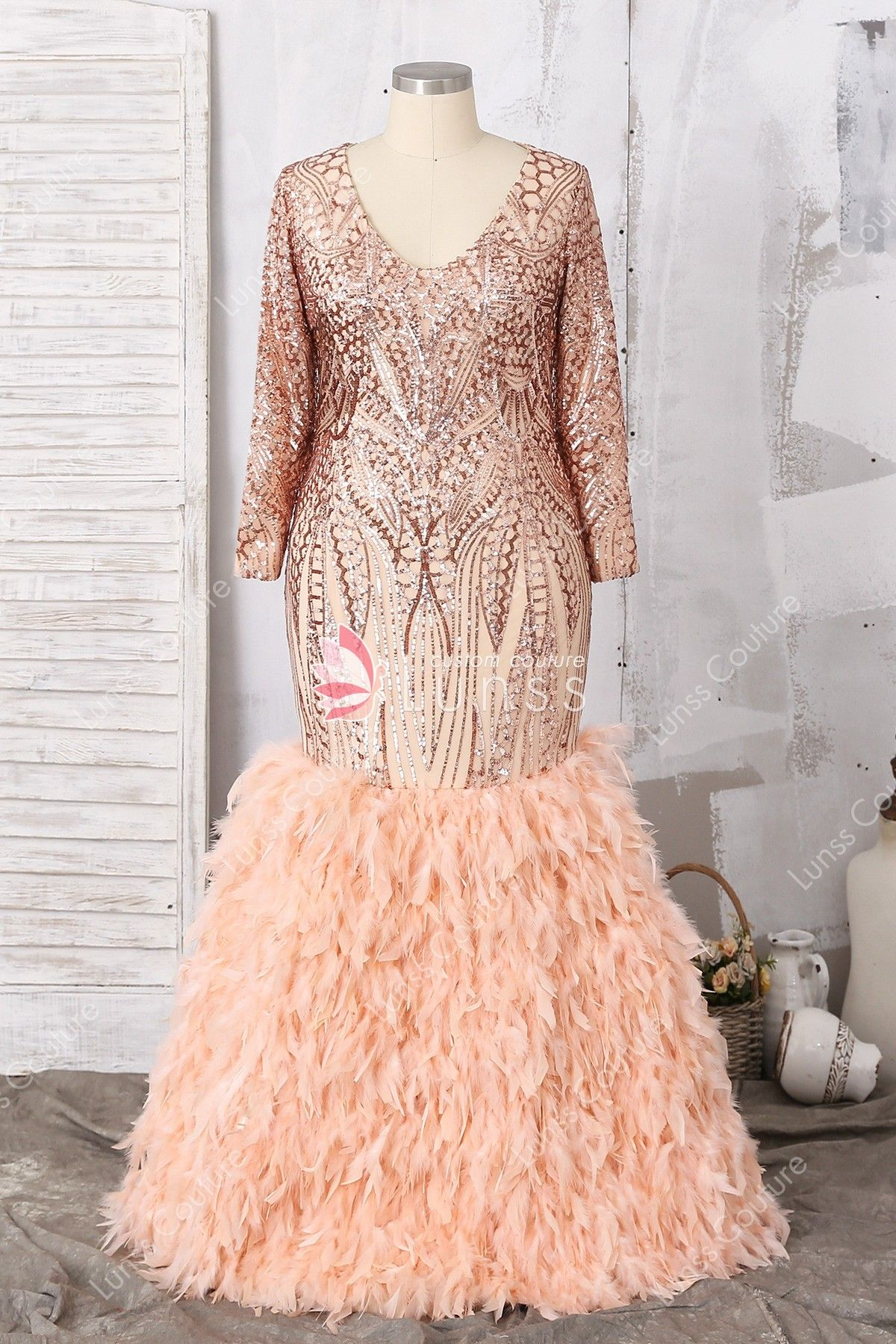 Luxury Plus Size Gold V Neck Long Sleeve Floor Length Sequin Feather Prom Dress Feather Prom Dress Gold Plus Size Dresses Plus Size Long Dresses [ 1800 x 1200 Pixel ]