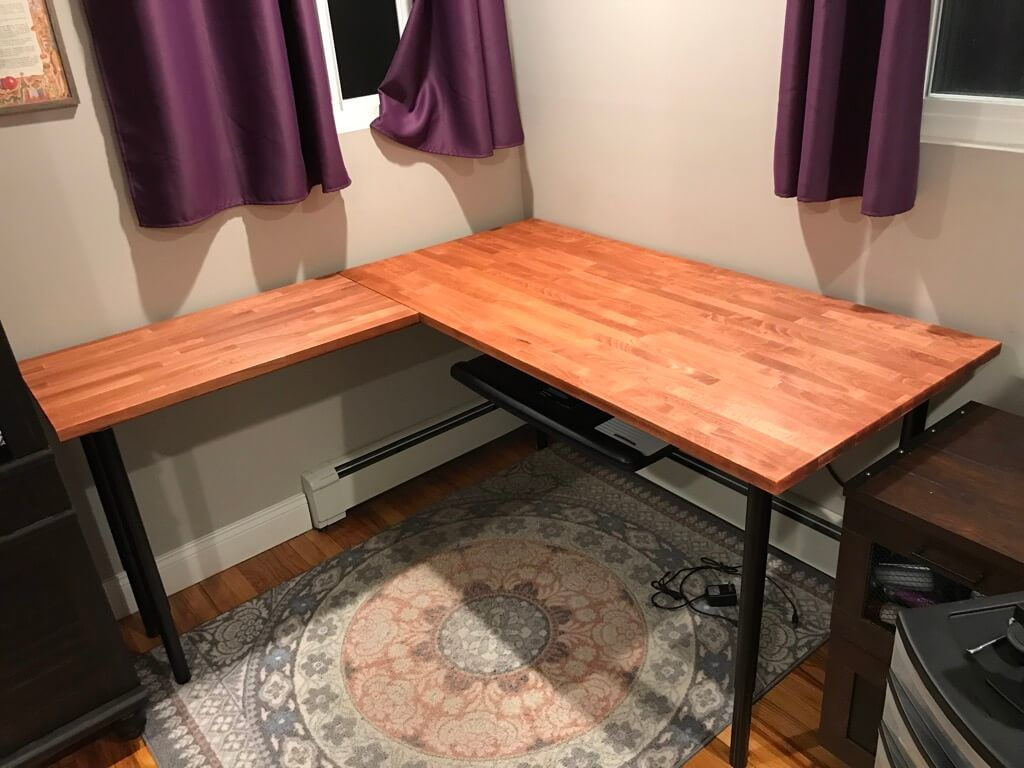Ikea Corner Table In Beautiful Beech A Diy In 2020 Large Corner Desk Corner Table Ikea Corner Desk