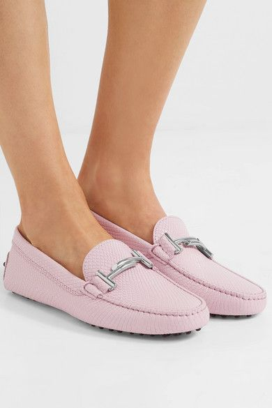 Gommino Embellished Lizard-effect Leather Loafers - Baby pink Tod's LEjPal