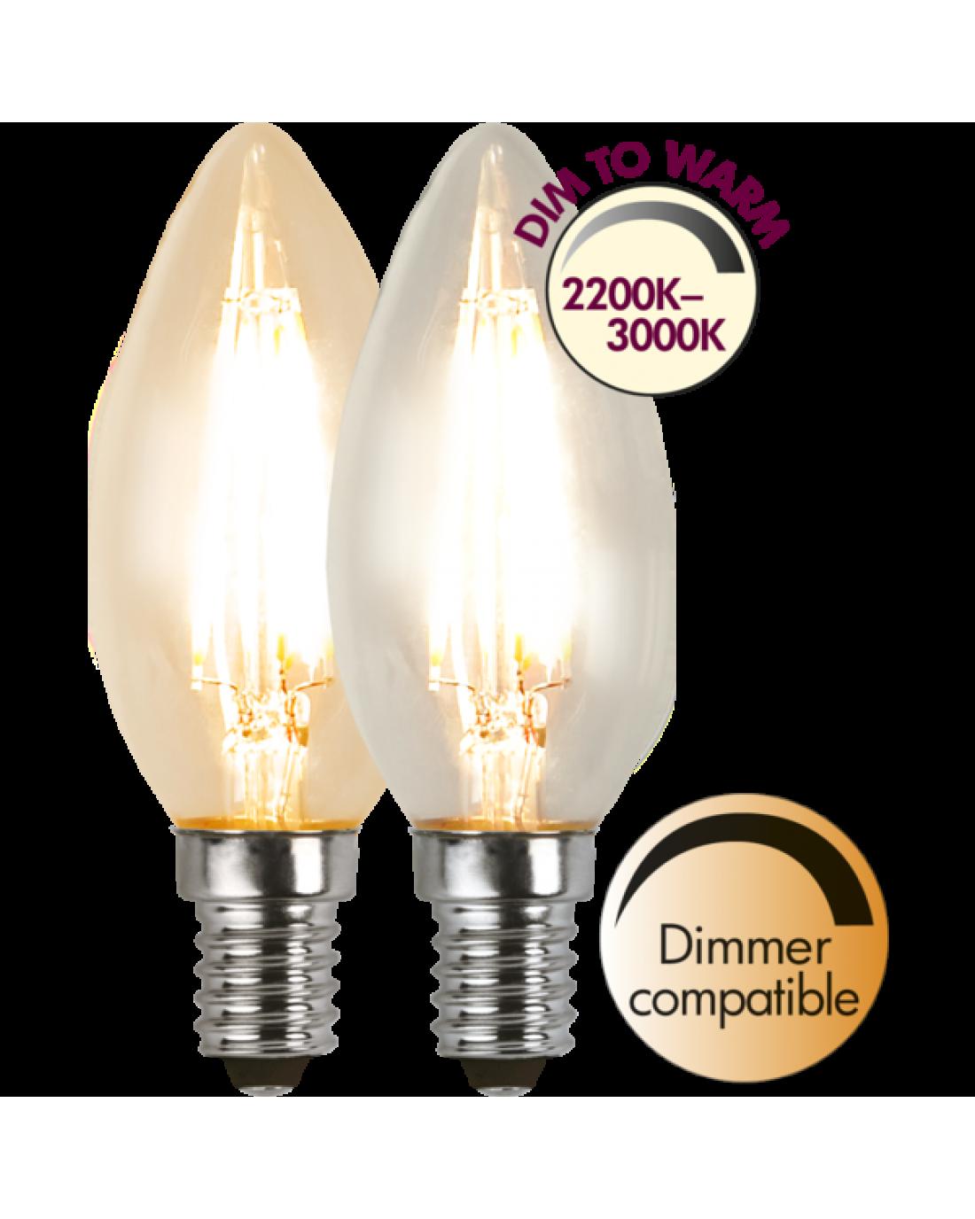 Kronljus LED Lampa E14 DIM TO WARM Filament i 2020