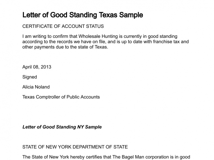 Letter Good Standing Texas Sample Termination Writing Professional