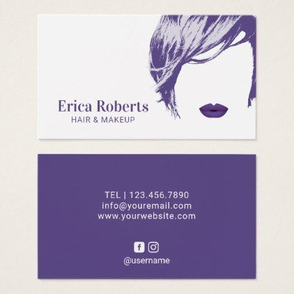 Makeup artist hair stylist elegant violet salon business card hair makeup artist hair stylist elegant violet salon business card hair stylist gifts business cyo diy custom create hair stylists pinterest reheart Image collections