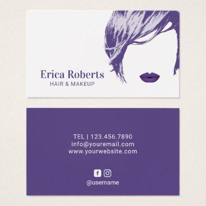 Makeup Artist Hair Stylist Elegant Violet Salon Business Card Hair