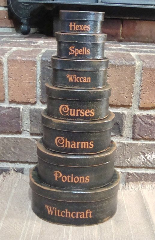Primitive Halloween Oval 7 Pc Shaker boxes Witchcraft, Spells