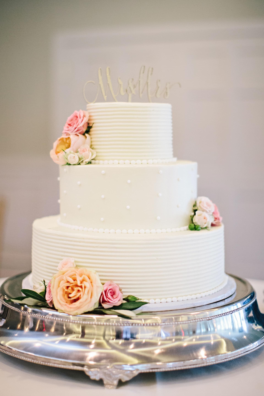 Coastal Country Club Wedding Silver CakeElegant CakesPortsmouthPink