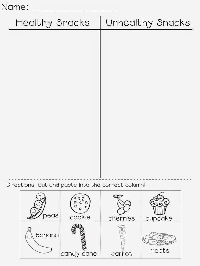 A Grade One Nut and Her Squirrelly Crew: Freebie! Healthy Snacks vs.  Unhealthy Snacks   Healthy habits preschool [ 1024 x 768 Pixel ]