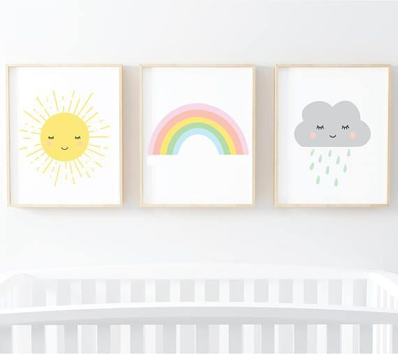 Photo of Sun Rainbow Cloud Set de 3 impresiones infantiles – Impresiones de arte digital Wall Art Printable Set of 3 Art Prints 8×10 / 5×7 / 11×14 Arte digital