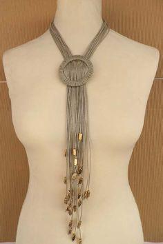 Linen long necklace