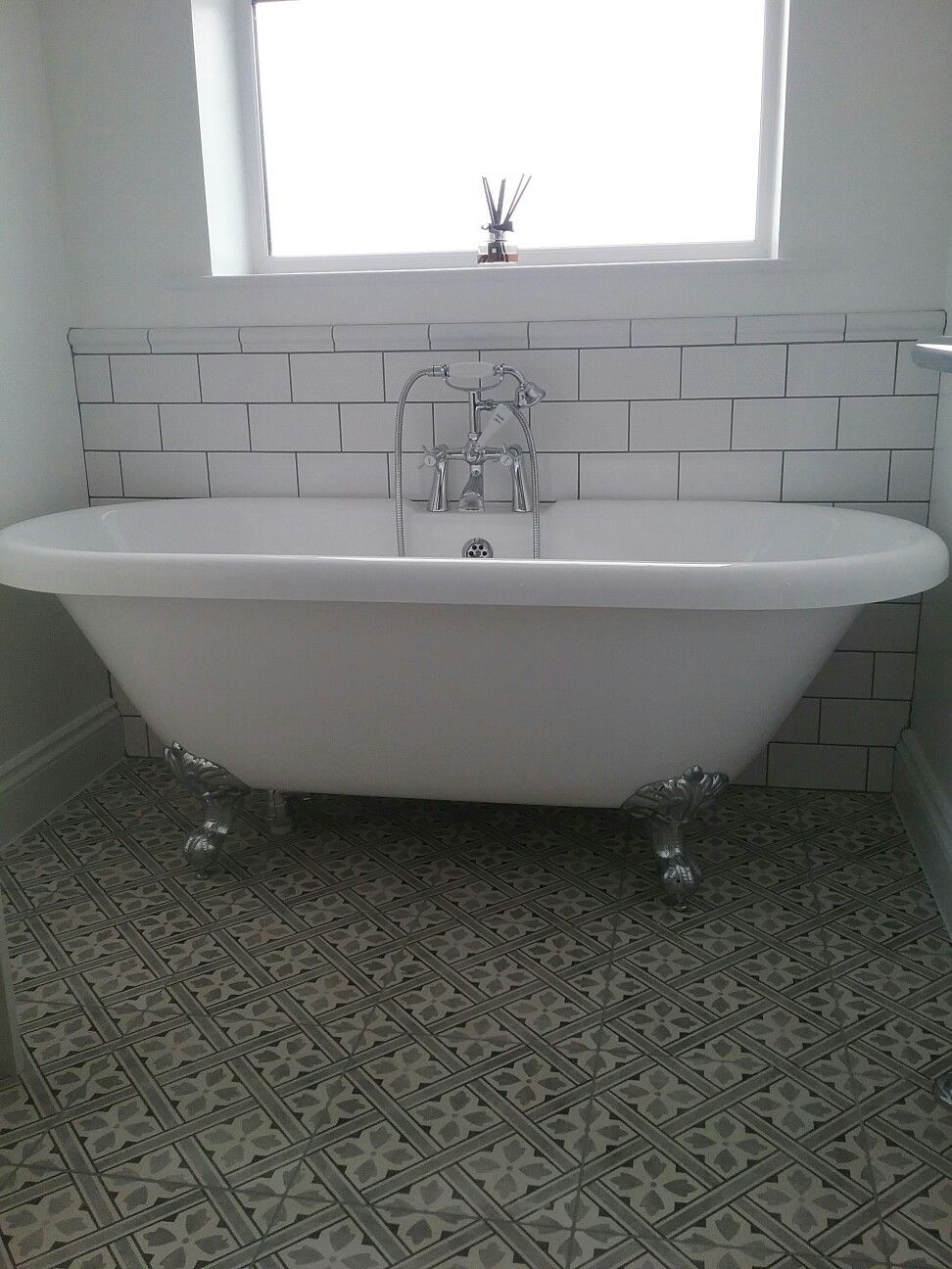 Laura Ashley Mr Jones Charcoal Tiles Compliment Our Roll Top Bath Roll Top Bath Bathroom Design Bathroom Interior