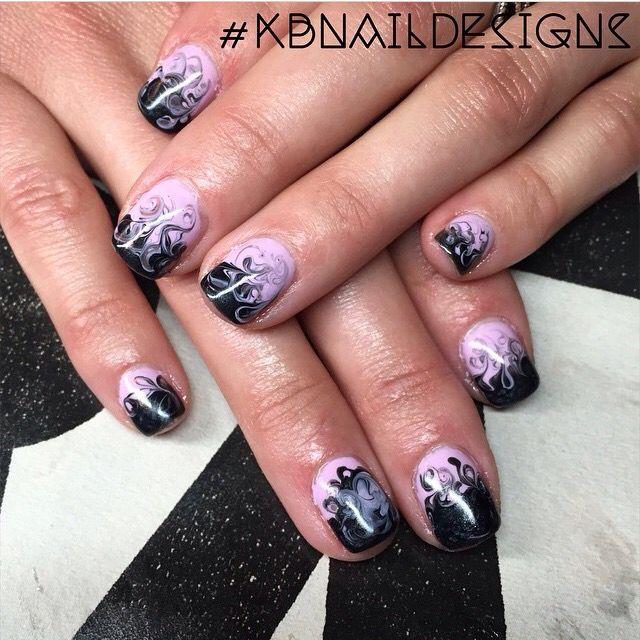 Lavender And Black Smokey Nails