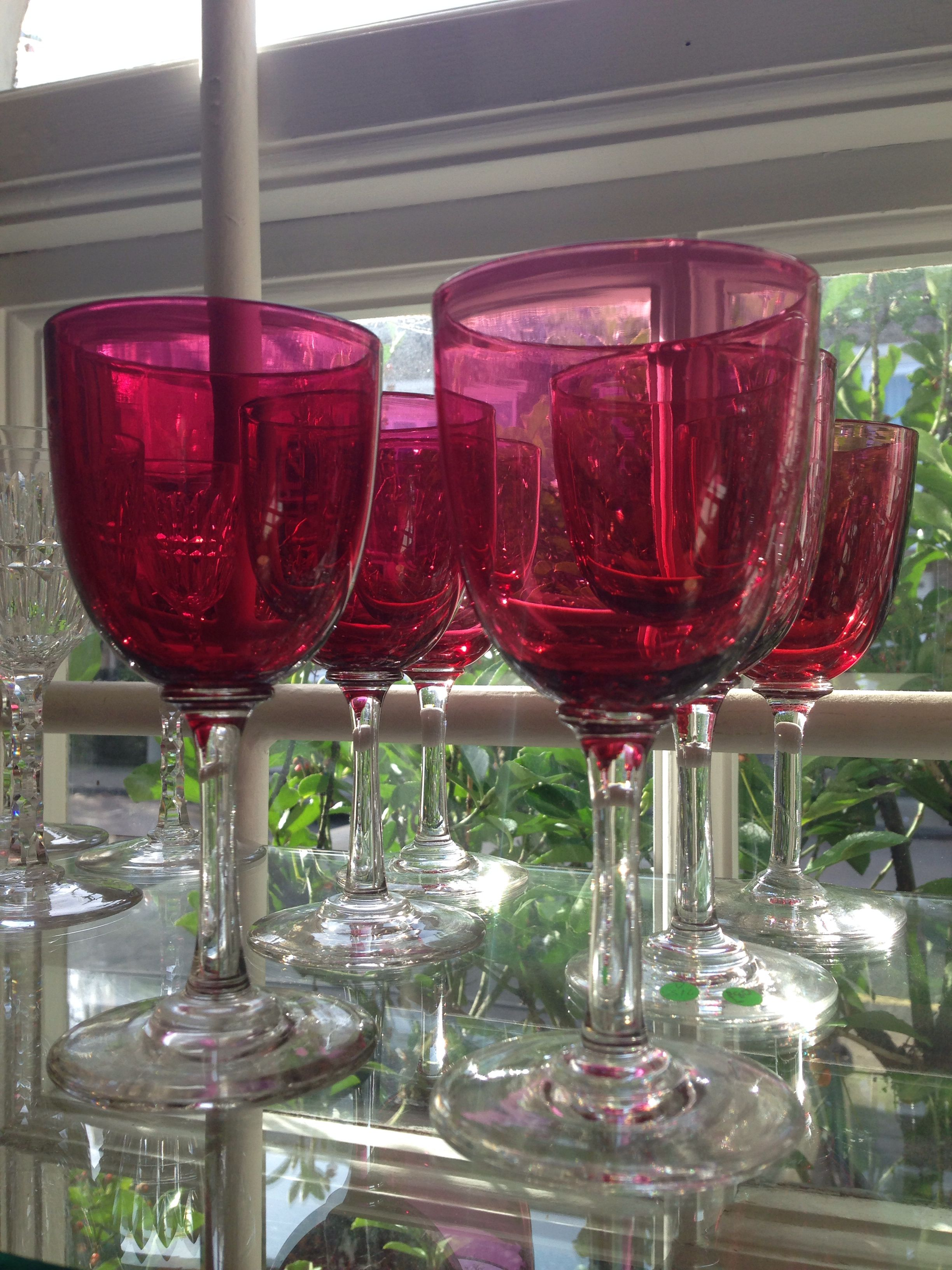 Six Cranberry Coloured Wine Glasses These Are From The Victorian Age And Fun For A Party Wedding Vintage Wine Glasses