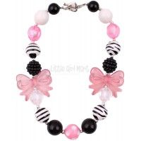 Chunky Bubblegum Bead Necklace Zebra and Pink