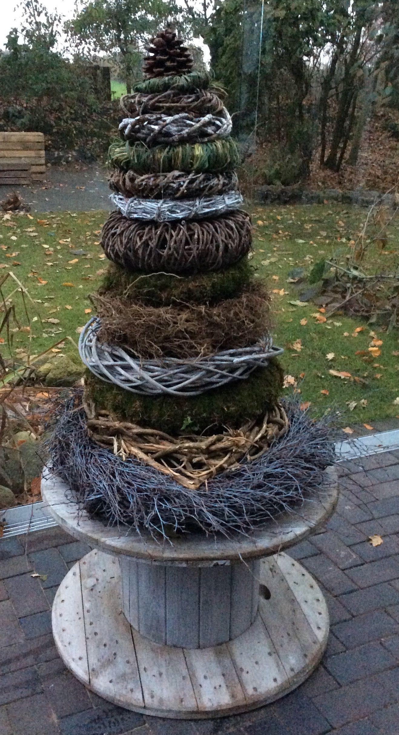 Wohin Mit Den Ganzen Gesammelten Kranzen Im Winter Aufeinanderstapeln Zum Tannenbaum Garten Deko Gartengestaltung Ideen Naturgarten