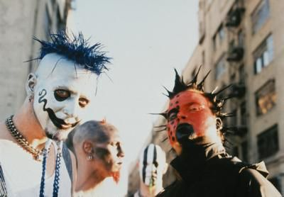 Mudvayne I Always Lived Chads Makeup Blue Hair White Face Black