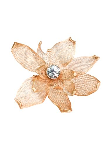Gold metallic daisy with posable petals and crystal center, from Faux Pas