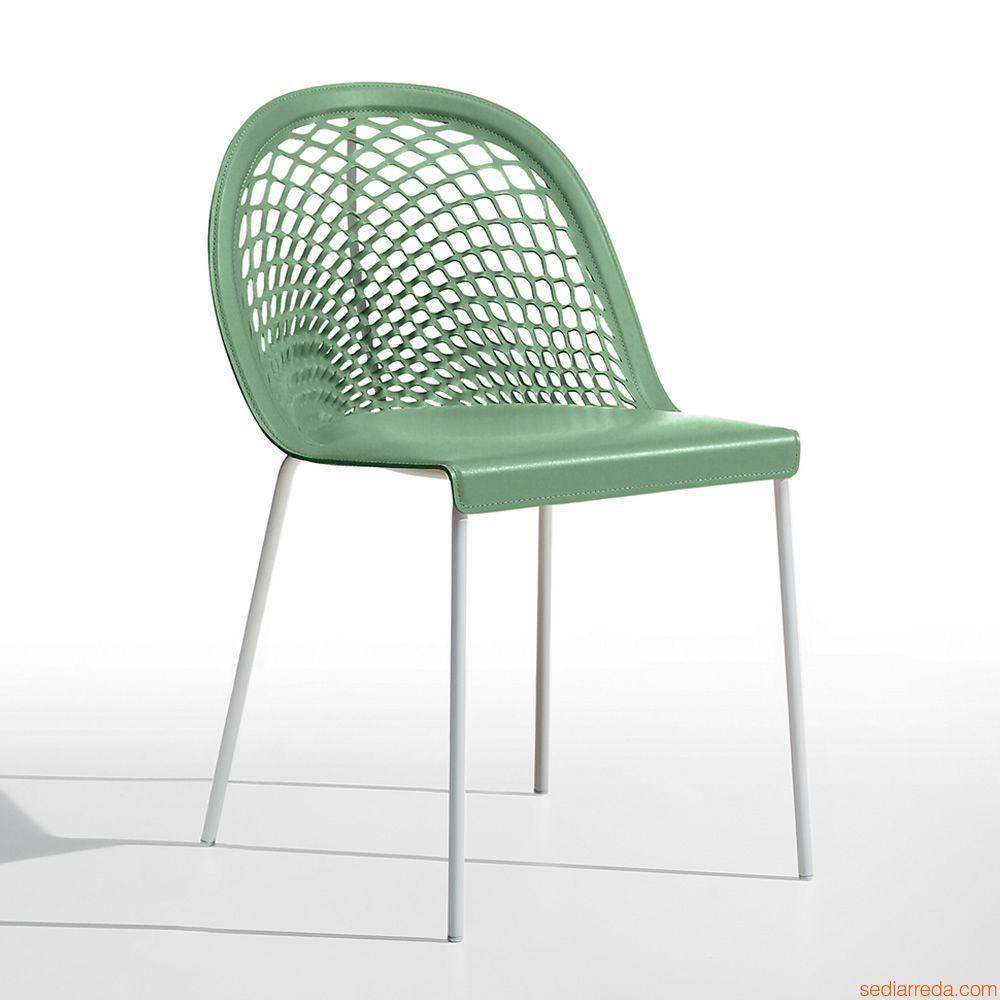 Guapa S4 | Sedia di design in metallo verniciato bianco e cuoio ...