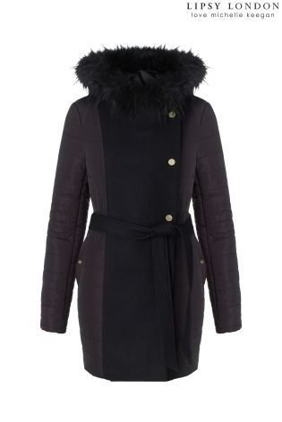 Buy Michelle Keegan Quilted Wool Blend Coat from the Next UK ... : quilted ladies coat - Adamdwight.com