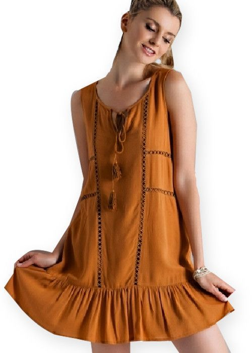 V-Silhouette Camel Ruffle Dress